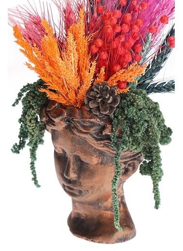 Kibrithane Çiçek Yapay Çiçek Bronz Helen Saksı Kuru Çiçek Aranjman Kc00200834 Renkli